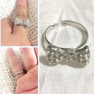 Cute bow crystal ring adjustable back
